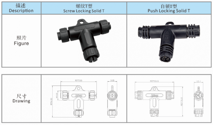 OEM / ODM IP68 Electrical Connectors Over Molding Connecting Type For Outdoor Lamp