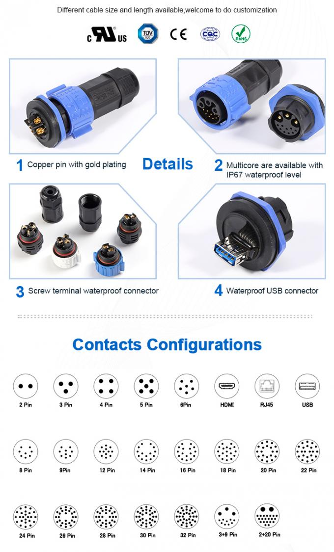 600V 20A Waterproof Male Female Connector , Industrial Power Connectors