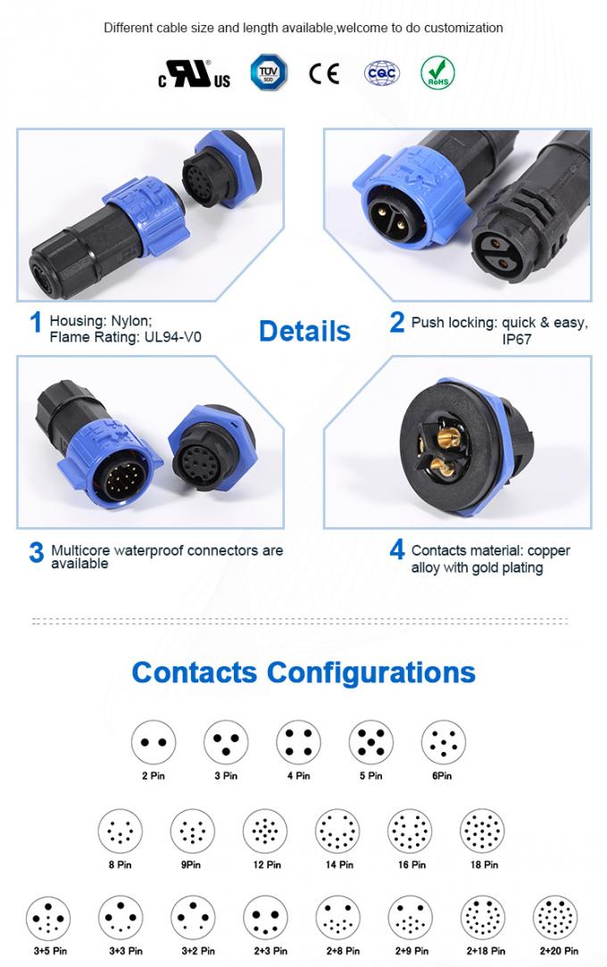 20A 3 Pin Waterproof Circular Connectors , M19 IP68 Circular Connectors