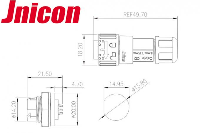 Jnicon 10A 3 Pin Circular Power Connector , Male Female Power Connector M16 Push Locking