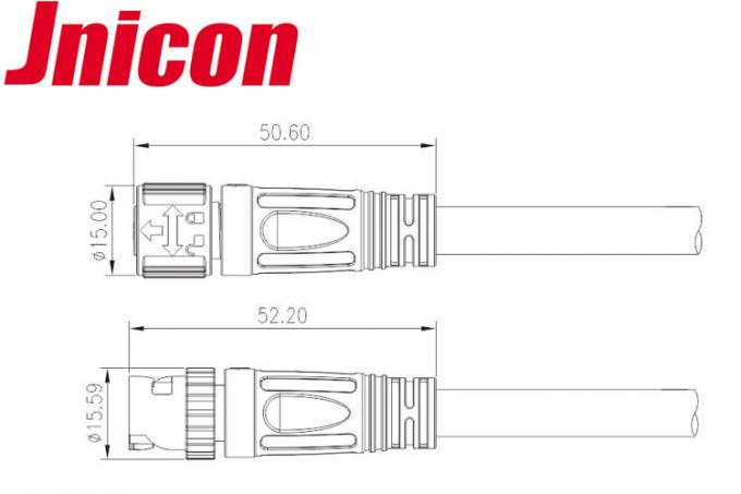 Jnicon Bayonet Waterproof LED Connectors , 4 Pin Male Female AC Cable Connectors