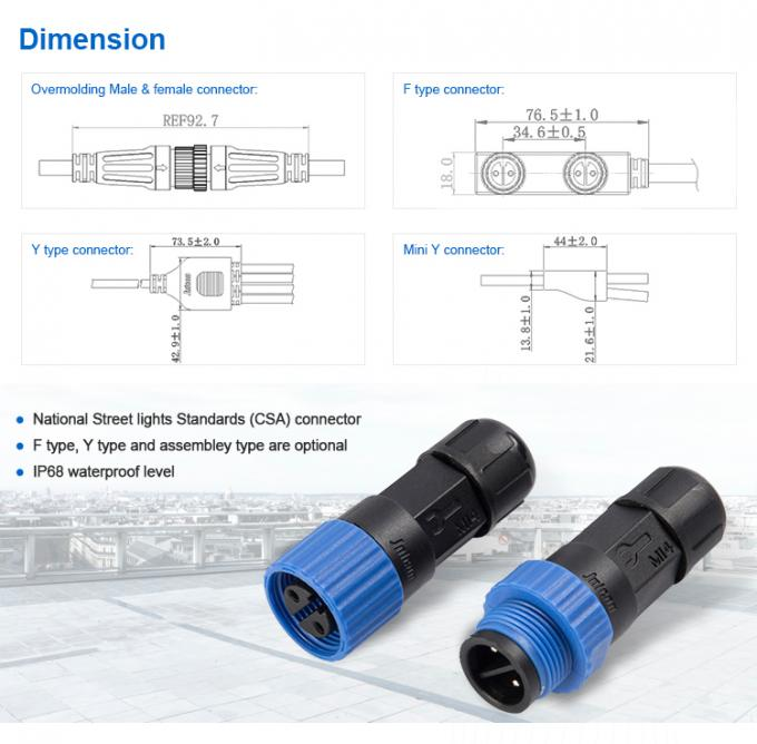 IP68 2 Pin Waterproof Connector LED , M15 Connector Male Female CSA Standard