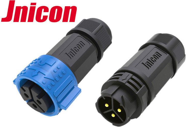 Male Female Waterproof Power Connector 3 Pin Flexible End Seal Design