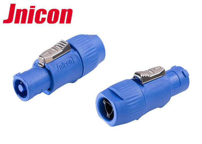 Blue IP65 Waterproof LED Connectors High Refined Copper Contact Retardant Material