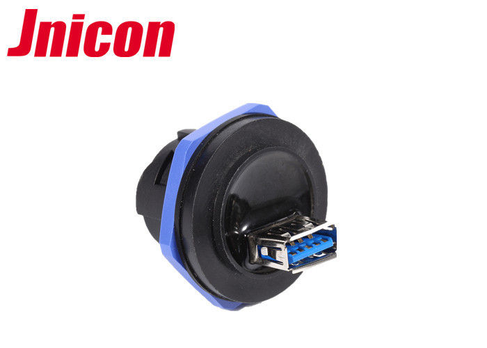 Super Speed Waterproof USB Connector , Panel Mount USB Connector With Dust Cap