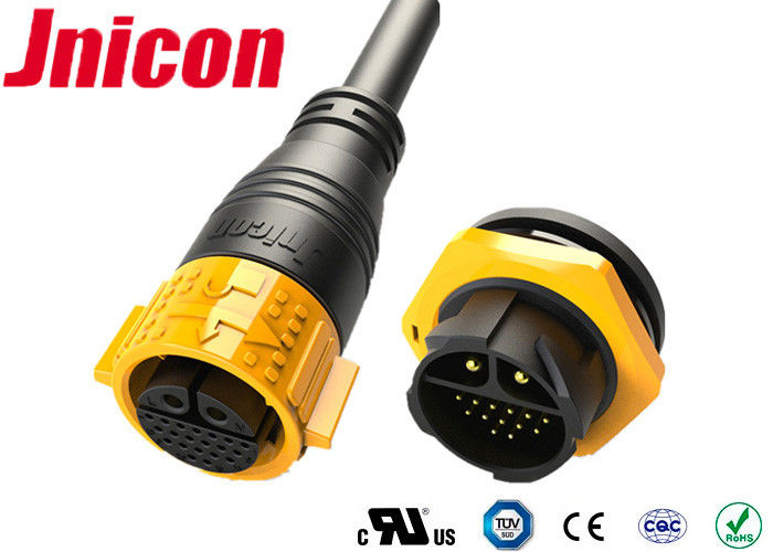 Push Lock Waterproof Pin Connectors 2 Pin Power Data Jnicon M25 With UL Approval