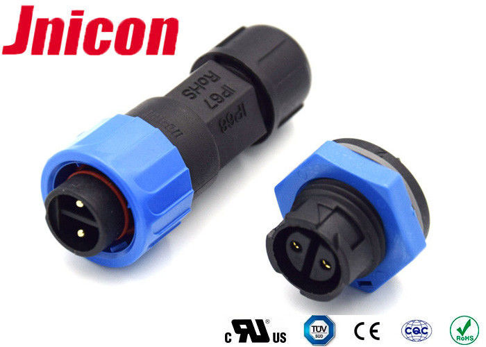 M16 2 Pin Male Power 10A Waterproof Connectors 300VAC Max Voltage Rating