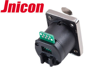 Waterproof Cat5e Cat6 RJ45 Female Connector Panel Mount For Signal Transmission