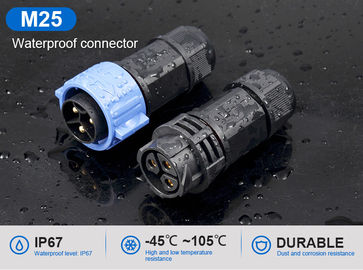 M25 3 Pin IP67 Waterproof Plug Connectors Male To Female Field Assembly Type