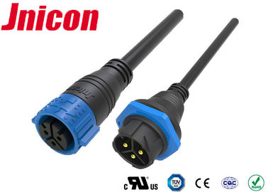 Three Pin Power High Current Waterproof Connectors Molded Cable IP67 For Electric Equipments
